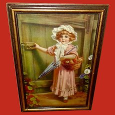 Vintage Print of Girl with Fruit Basket