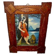 Tramp Art Wood Frame with Vintage Print of Indian Maiden by Homer Nelson