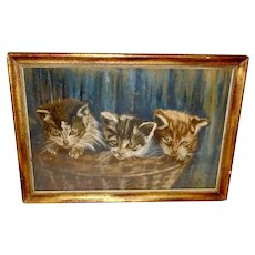 Artist Signed Chalk Pastel of Three Kittens in Basket