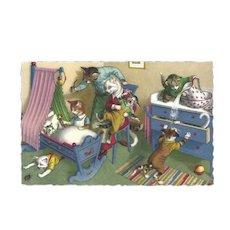 Mainzer Dressed Cat Postcard - Cats in Nursery