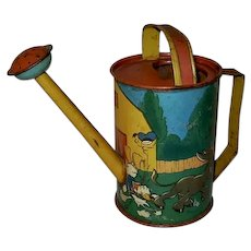 Disney Ohio Art 1938 Tin Toy Lithograph Donald Duck Donkey Watering Can