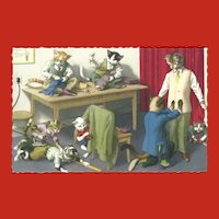 Mainzer Dressed Cat Postcard of Men's Fitting Room
