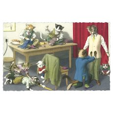 Mainzer Dressed Cat Postcard of Men's Fitting Room
