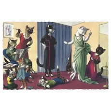 Mainzer Dressed Cat Postcard - Fitting Room