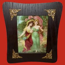 Chromolithograph of Art Nouveau Style Women in Ornate Frame