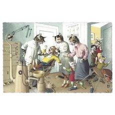 Mainzer Dressed Cat Postcard - At the Dentist