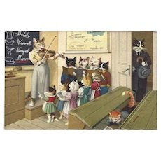 Max Kunzli Dressed Cat Postcard - Music Lessons