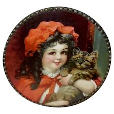Chromolithograph Flue Cover of Girl in Red with Cat