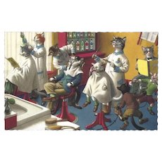 Mainzer Dressed Cats Postcard - In the Barber Shop