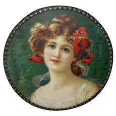 Chromolithograph Flue Cover of Lady with Flowers in Her Hair