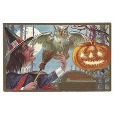 Embossed 1910 Halloween Postcard with Witch, Pumpkin and Owl