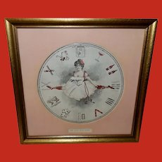 Austen Company Vintage Print of Lady and Clock - Pace that Kills