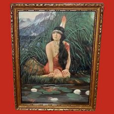 James Arthur Small Vintage Print of Indian Maiden by Water