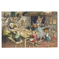 Max Kunzli Alfred Mainzer Dressed Mice Postcard at Dinner Table