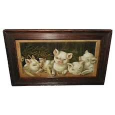 Small Vintage Print of The Prize Piggies