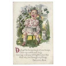 Gartner Bender 1917 Postcard of Optimistic Miss with Cat