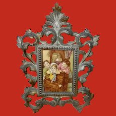 Small Ornate Metal Table Top Frame with Trade Card