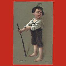 Hermann Kaulbach Vintage German Postcard of Naughty Boy