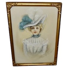 Artist Signed Small Watercolor of Woman in Large Hat