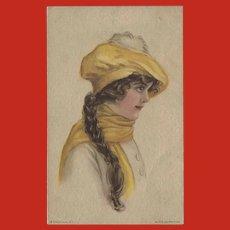 Alice Fidler Vintage Postcard of American Girl