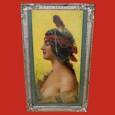 Raphael Beck Vintage Profile Print of Indian Maiden