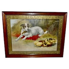 Large Chromolithograph Dated 1906 of Dog and Baby Chicks Faithful Guardian