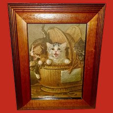 Chromolithograph of Three Kittens in Wicker Basket