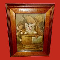 Louis Lambert Chromolithograph of Three Kittens in Wicker Basket