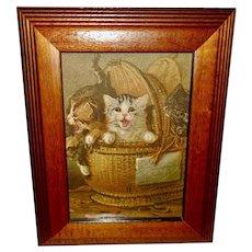 Louis Lambert Chromolithograph of Three Kittens in Wicker Basket