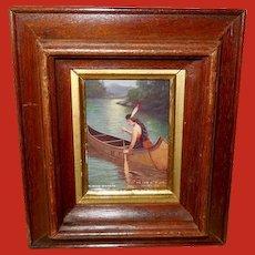 James Arthur Tiny Framed Indian Maiden in Canoe