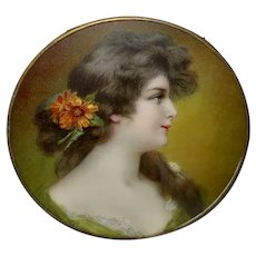 Chromolithograph Flue Cover of Lovely Art Nouveau Style Lady