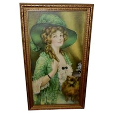 J. Knowles Hare Vintage Print of Lady in Green - One of Two