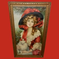 J. Knowles Hare Vintage Print of Lady in Red - One of Two