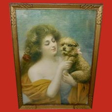 Vintage 1905 Print of Woman and Dog Best of Friends