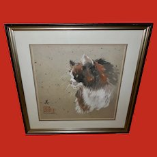 Ann MacLennan White Oriental Painting of Calico Cat