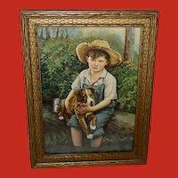 Vintage Print of Boy Holding Puppy