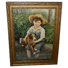 Vintage Print of Boy Holding Puppy