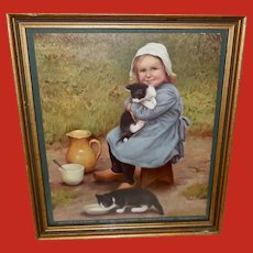 Jean Paul Selinger 1900 Print of Girl with Cats