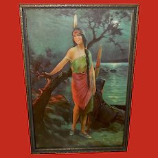 Relyea Vintage Print of Indian Maiden The Fire Signal