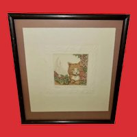 Rachel Badeau Signed Numbered Etching of Cat