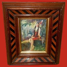Indian Maiden in Deep Wood Frame One of Two
