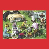Mainzer Dressed Cats Postcard - Camping Out