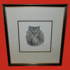 Lithograph of Persian Cat by French Artist Danet