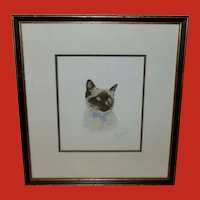 Lithograph of Siamese Cat by French Artist Danet