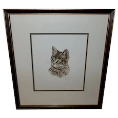 Lithograph by French Artist Danet of Tabby Cat