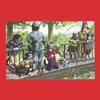 Mainzer Dressed Cat Postcard - Fishing in the Park