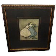 Jennie Harbour Raphael Tuck Textured Print of Two Women and Bird