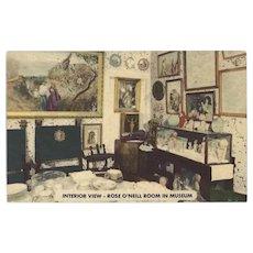 Vintage Postcard of Rose O'Neill Kewpie Room in Museum