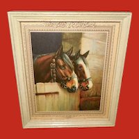R. Atkinson Fox Small Calendar Print of Two Horses in Stall