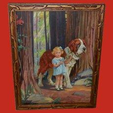 Hy Hintermeister Vintage Print of Girl with St. Bernard Dog